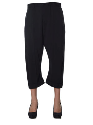 Dsquared2: casual trousers online - Wool blend slouch crop trousers
