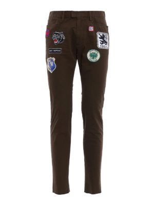 Dsquared2: casual trousers - Patch cotton drill chinos