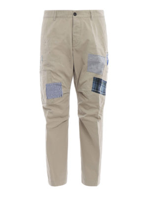 DSQUARED2: pantaloni casual - Chinos Skipper fit in cotone con toppe