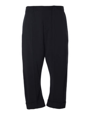 Dsquared2: casual trousers - Wool blend slouch crop trousers