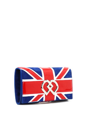 Dsquared2: clutches online - UK flag suede clutch