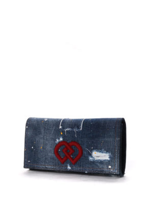 Dsquared2: clutches online - Used effect denim clutch