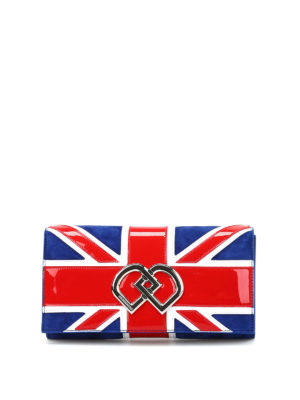 Dsquared2: clutches - UK flag suede clutch
