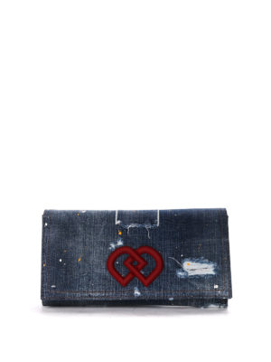 Dsquared2: clutches - Used effect denim clutch