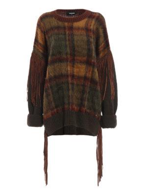 DSQUARED2: maglia collo rotondo - Pull girocollo con frange e pannello scozzese