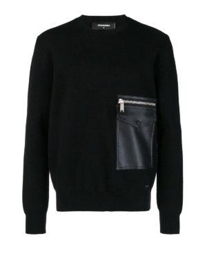 DSQUARED2: maglia collo rotondo - Girocollo in lana con tasca applicata davanti