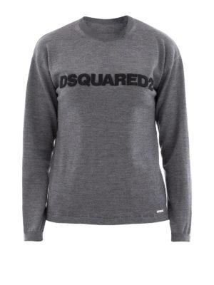 DSQUARED2: maglia collo rotondo - Girocollo in lana inserti camicia