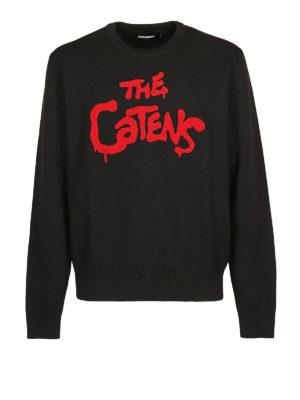 DSQUARED2: maglia collo rotondo - Pull nero in lana The Catens