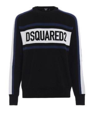 DSQUARED2: maglia collo rotondo - Pull in lana con logo lettering in velluto