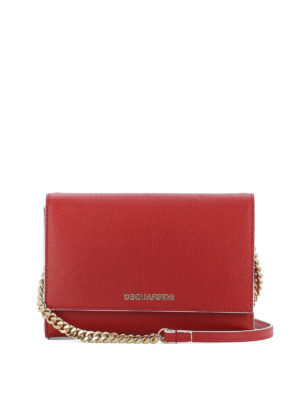 Dsquared2: cross body bags - Disco red leather cross body bag