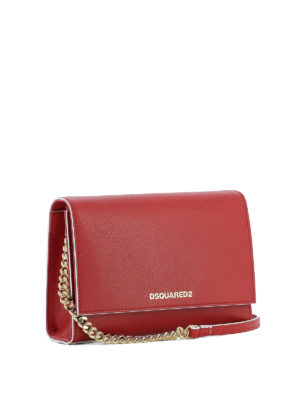 Dsquared2: cross body bags online - Disco red leather cross body bag