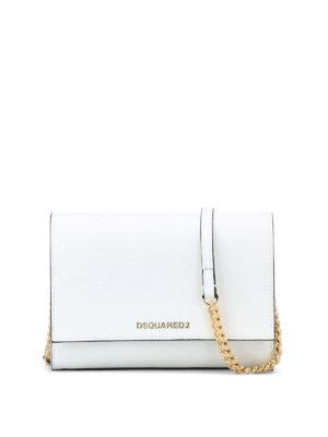 DSQUARED2: borse a tracolla - Piccola tracolla in pelle bianca