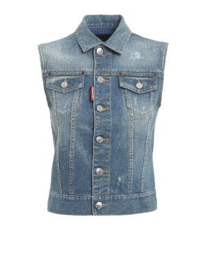 Dsquared2: denim jacket - All over rhinestone denim vest