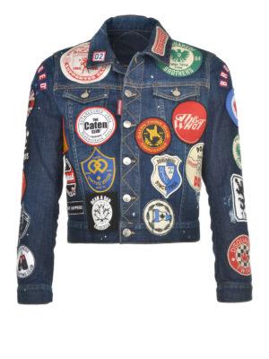 Dsquared2: denim jacket - Denim crop jacket with patches