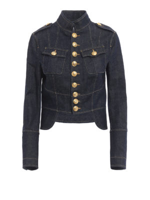 Dsquared2: denim jacket - Denim livery crop jacket