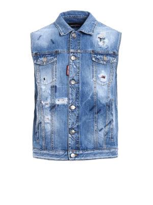 Dsquared2: denim jacket - Destroyed denim sleeveless jacket