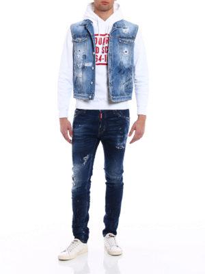 Dsquared2: denim jacket online - Destroyed denim sleeveless jacket