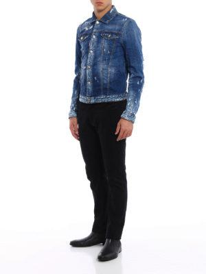 Dsquared2: denim jacket online - Ripped stone wash denim jacket