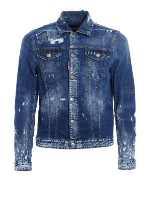 Dsquared2: denim jacket - Ripped stone wash denim jacket