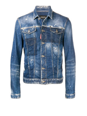DSQUARED2: giacche denim - Giacca di jeans effetto usato con macchie