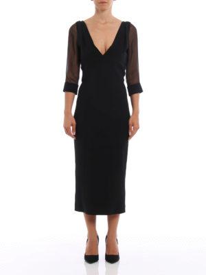 Dsquared2: evening dresses online - Sheer sleeved cady dress