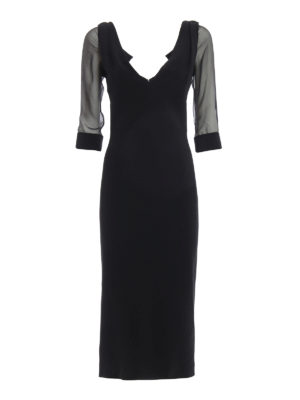Dsquared2: evening dresses - Sheer sleeved cady dress