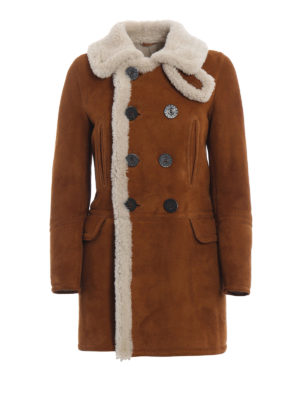 DSQUARED2: Pellicce e montoni - Cappotto corto in montone doppiopetto