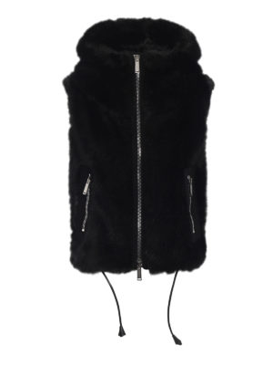 DSQUARED2: Pellicce e montoni - Gilet in eco pelliccia maxi collo e zip