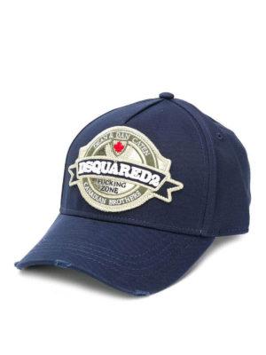 DSQUARED2: cappelli - Cappellino da baseball blu con patch logo