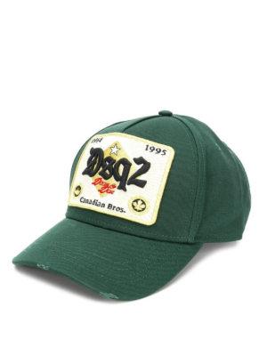 DSQUARED2: cappelli - Cappellino da baseball verde con patch DSQ2