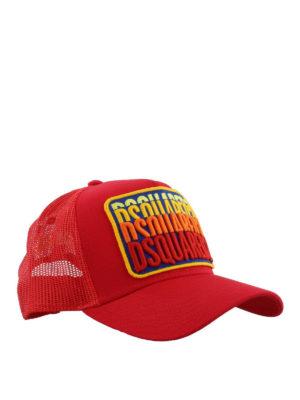 DSQUARED2: cappelli - Cappellino rosso in cotone e retina DSQUARED2