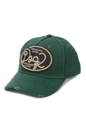 DSQUARED2: cappelli - Cappellino verde bosco con patch logo