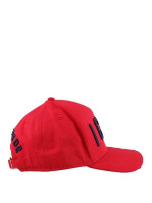 9d01c472 DSQUARED2: cappelli - Cappellino da baseball rosso con ricamo Icon