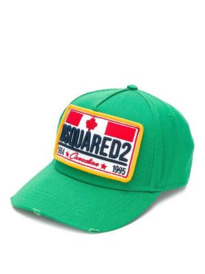 DSQUARED2: cappelli - Cappellino verde chiaro con patch logo