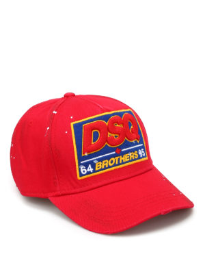 Dsquared2: hats & caps - Logo patch cotton baseball cap
