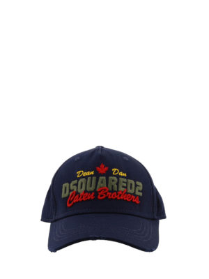 Dsquared2: hats & caps online - Blue cotton cap with writings