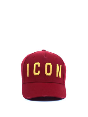 Dsquared2: hats & caps online - Icon embroidered red baseball cap