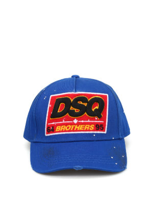Dsquared2: hats & caps online - Logo patch cotton baseball cap