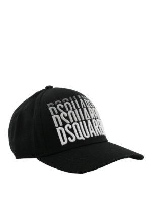 DSQUARED2: cappelli - Cappellino con ricamo logo ripetuto