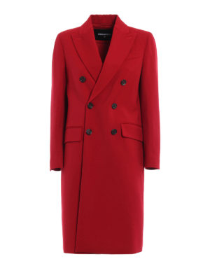 Dsquared2: knee length coats - Double-breasted long coat