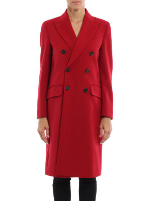 Dsquared2: knee length coats online - Double-breasted long coat