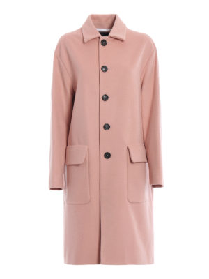 DSQUARED2: cappotti al ginocchio - Cappotto over rosa in lana e cammello