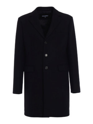 Dsquared2: knee length coats - Wool blend cloth straight coat