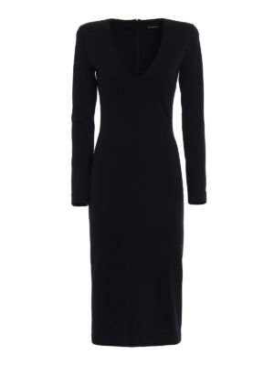 Dsquared2: knee length dresses - Black wool blend midi dress