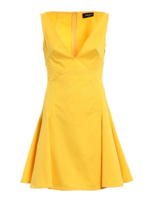 Dsquared2: knee length dresses - Circle skirt yellow dress