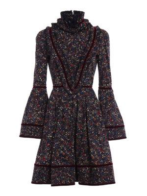 Dsquared2: knee length dresses - Floral cotton and velvet dress