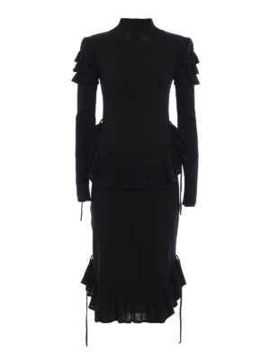 Dsquared2: knee length dresses - Frilled jersey dress