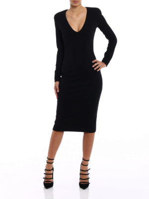 Dsquared2: knee length dresses online - Black wool blend midi dress