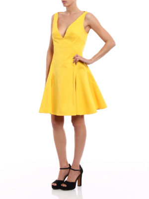Dsquared2: knee length dresses online - Circle skirt yellow dress