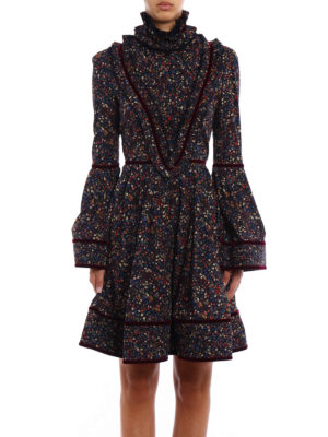 Dsquared2: knee length dresses online - Floral cotton and velvet dress